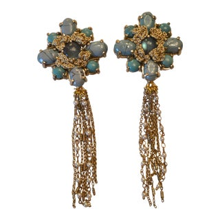 St. Erasmus Floral Fringe Clip Earrings For Sale