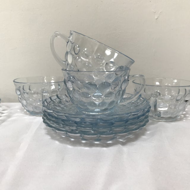 SAPPHIRE BLUE Bubble glass Cup /& Saucer by Anchor Hocking Glass U Pick Quantity
