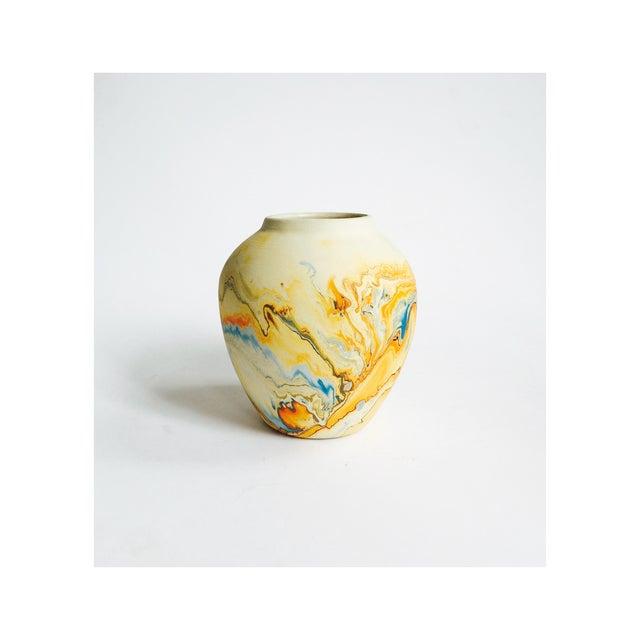 Vintage Blue & Orange Nemadji Pottery Vase - Image 2 of 5