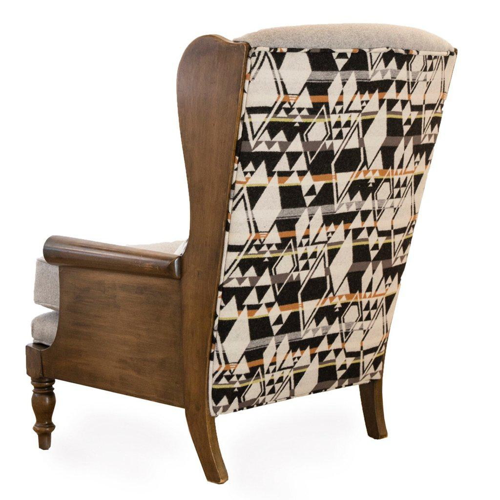 Adirondack Vintage Pendelton Fabric Wingback Chair For Sale   Image 3 Of 3