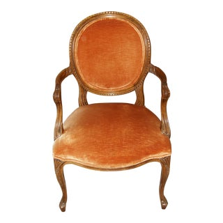 French Luis XV Carved Hickory Arm Chair For Sale