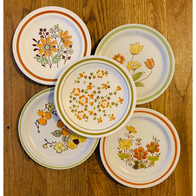Set of 5 mismatched floral stoneware salad plates. The following plates are included in this set Nikko Stoneware Ginger...