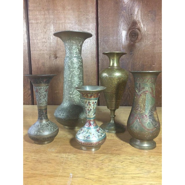 Brass Vase Collection Made In India Set Of 5 Chairish