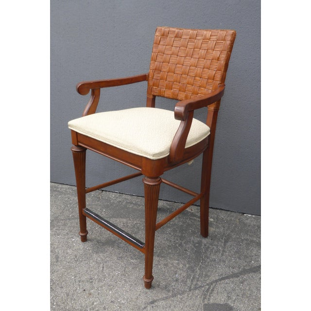 Stanley Furniture Palm Beach Style Rattan Bar Stools - Set of 3 - Image 5 of 13