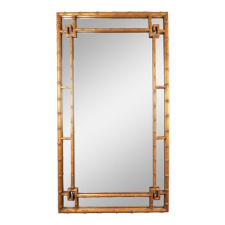 Large Chinoiserie Giltwood Faux Bamboo Mirror For Sale