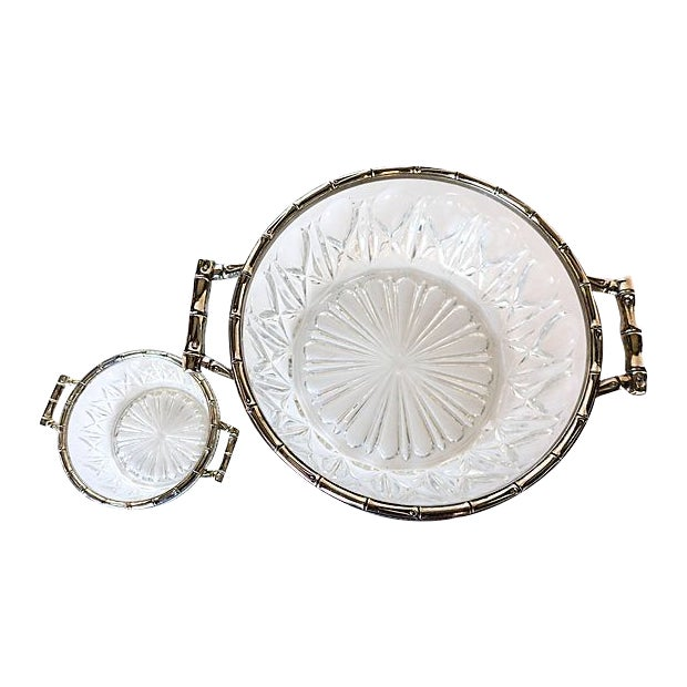 Bamboo Silver-Plate & Pressed Glass Set - Image 1 of 6