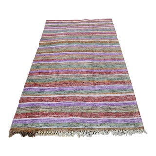 Modern Colorful Turkish Handmade Flatweave Rug For Sale