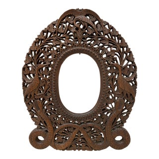 19th C. Exquisitely Detailed Anglo Indian Hand Carved Picture Frame For Sale