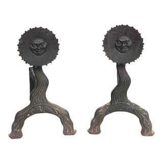 American Country Wrought Iron Andirons - a Pair For Sale