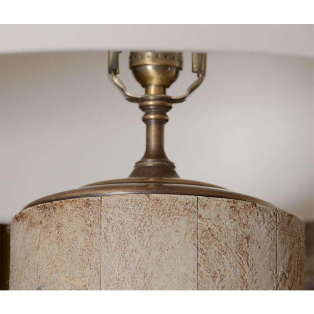 Greige Textured Cylinder Lamps - A Pair - Image 2 of 5