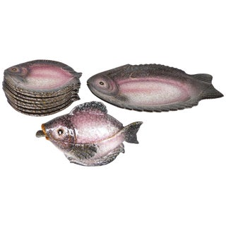 Italian Glazed Ceramic Fish Service Set With Platter, Plates and Sauce Boat For Sale