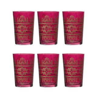 Red Hand Blown Tunis Glasses - Set of 6 For Sale