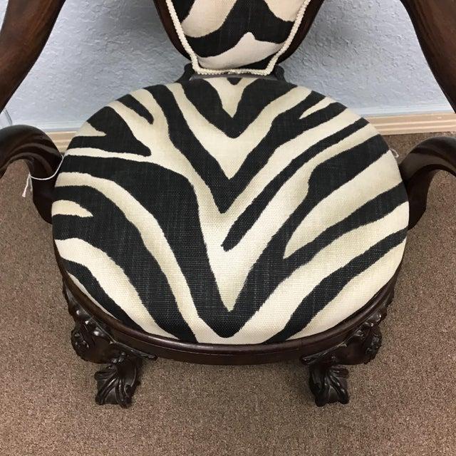 Wood Animal Print Armchair For Sale - Image 7 of 11