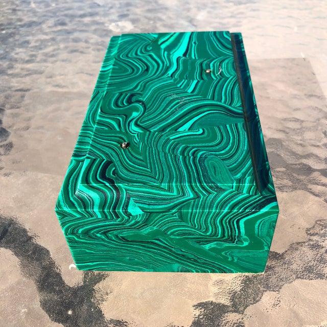 Early 20th Century Vintage Chunk Faux Malachite Rectangular Art Base Block For Sale - Image 5 of 10