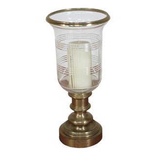 Ralph Lauren Brass Candlestick with Etched Glass Globe For Sale