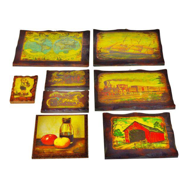 Vintage Carved Wood Decoupage Wall Art Plaques - Group of 8 - Image 9 of 11