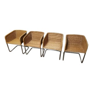 Harvey Probber Mid-Century Modern Chrome & Wicker Chairs - Set of 4