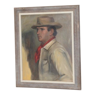 Fine Oil Portrait of a Handsome Cowboy by Germaine C.1940s For Sale