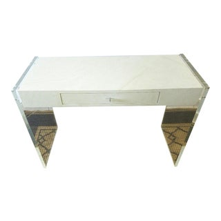 Modern Faux Goat Skin Finish Lucite Wood Desk For Sale