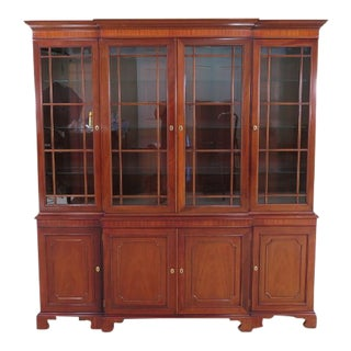Kindel 4 Door Mahogany Breakfront China Cabinet For Sale