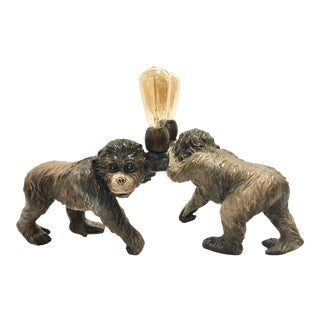Ceramic Hand Painted Monkey Lamps - A Pair For Sale