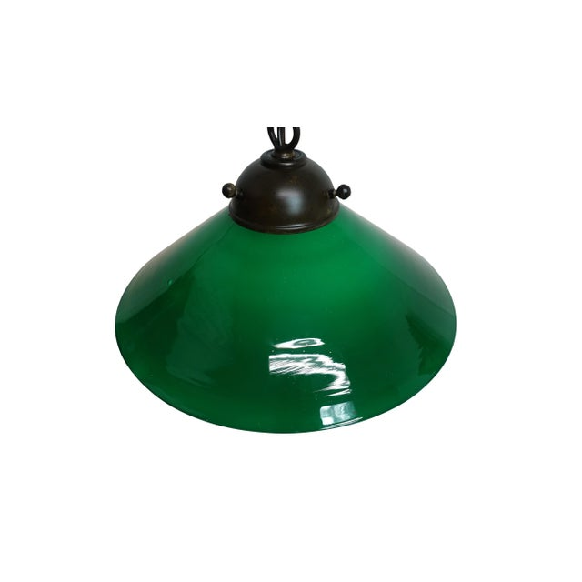 Antique Emeralite Green Encased Glass Pendant Light Fixture For Sale - Image 4 of 10
