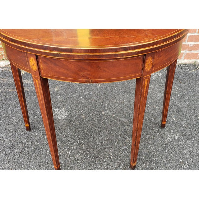 American Federal Inlaid & Figured Mahogany Demilune Games Table Rhode Island or Connecticut C1795 For Sale - Image 9 of 13