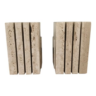 Italian Travertine Bookends - A Pair For Sale