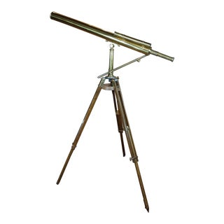 19th Century Brass Telescope W/ Adjustable Oak Tripod For Sale