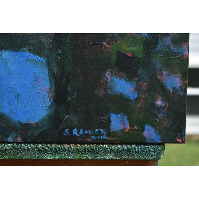 """2010s """"Blue Punctuation"""" Abstract Painting For Sale - Image 5 of 10"""