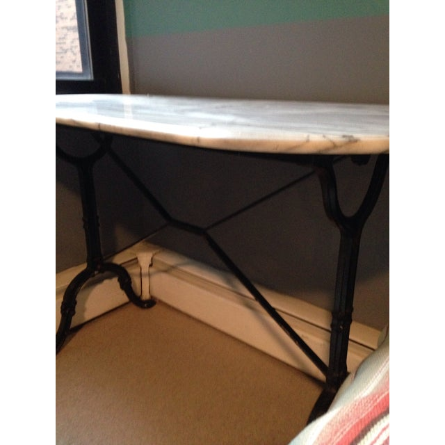 Antique French Marble & Iron Bistro Console Table - Image 3 of 5