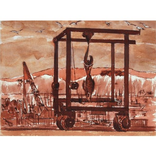 """Seymour Tubis Entitled """"Fish Pier Monterey"""" 1980's Ink on Paper For Sale"""