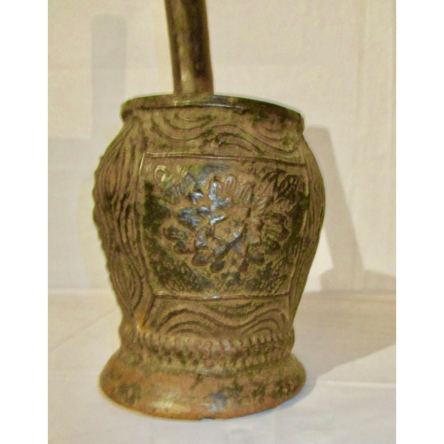 Folk Art Cast Iron Mortar and Pestle Eastern European Antique For Sale - Image 3 of 7