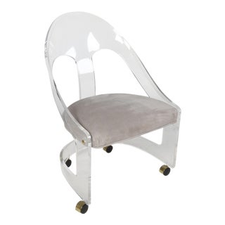1970s Vintage Lucite Frame Rolling Chair For Sale