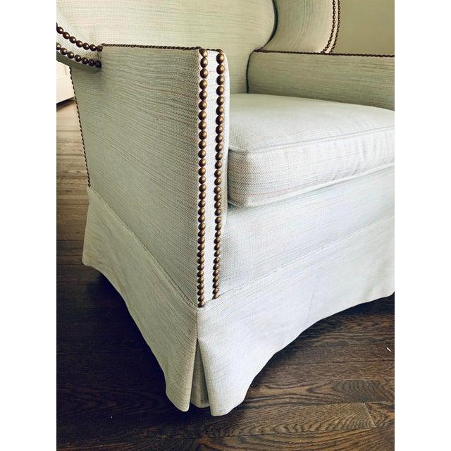 Hollywood Regency Light Blue Linen Custom Hooded Porters Canopy Chair For Sale - Image 3 of 8