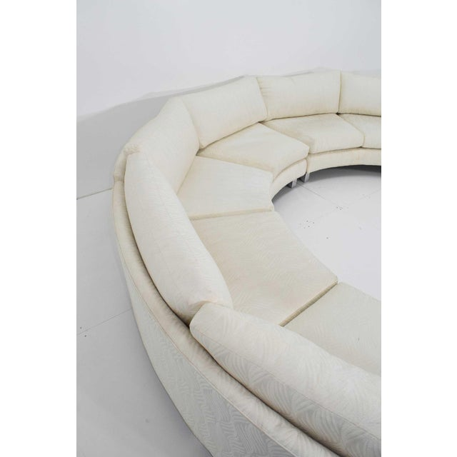 1970s Large Milo Baughman White Upholstered Four Section Circular Sofa For Sale - Image 5 of 13