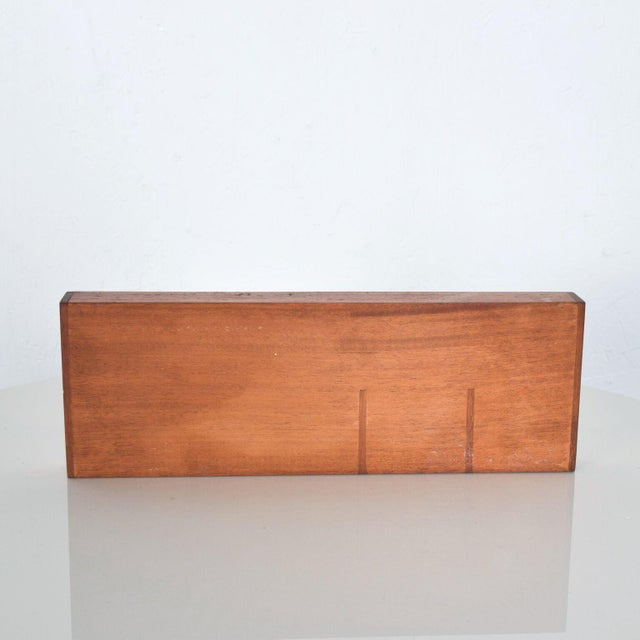 1950s Vintage Mahogany Wood Desk Organizer Tray Valet Box Mexico 1950s For Sale - Image 5 of 7