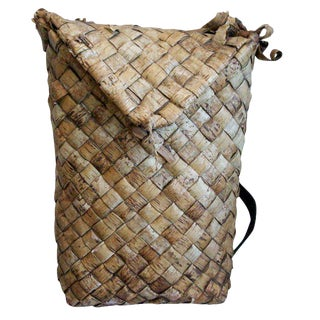 19th Century Swedish Woven Birch Backpack For Sale