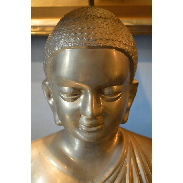 Vintage Solid Brass Buddha Lamps - Pair - Image 6 of 7