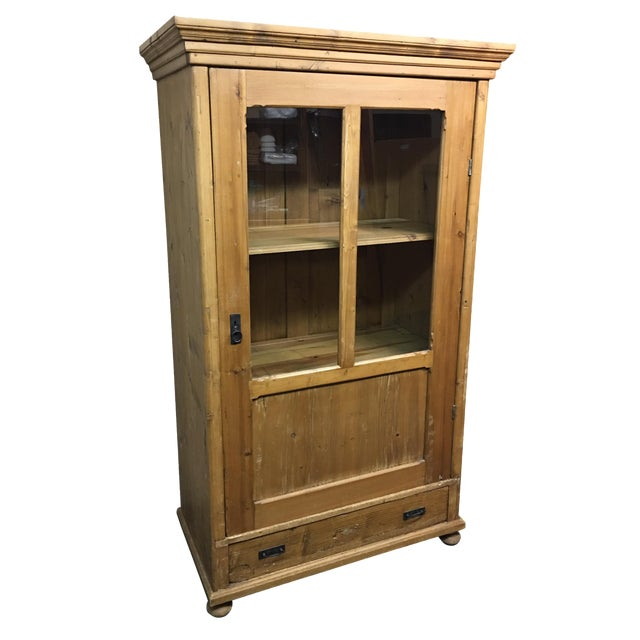 Antique Rustic Wood Armoire With Glass Doors - Image 1 of 11