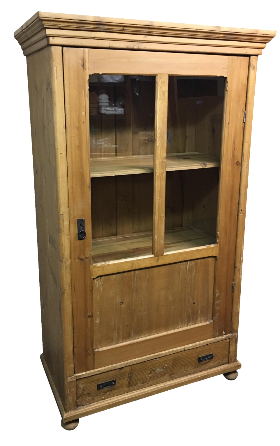 Antique Rustic Wood Armoire With Glass Doors   Image 1 Of 11
