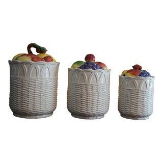 Vintage Otagiri Ceramic Fruit Basket Jars - a Pair For Sale