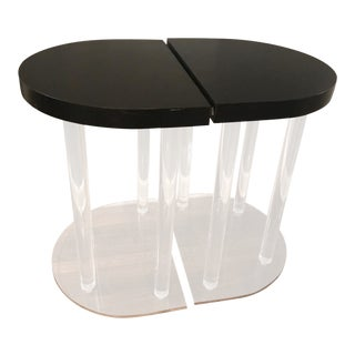 Art Deco Lucite Base & Demilune Black Top End Tables - A Pair