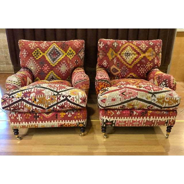 2010s George Smith Kilim Chairs - a Pair For Sale - Image 5 of 5