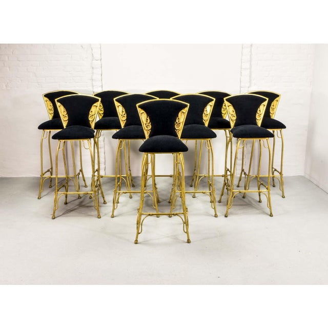 Mid-Century Italian Design Set of Gilded Forged Steel 'GOLD COBRA' Bar Stools, Set of Ten, 1970s For Sale - Image 13 of 13