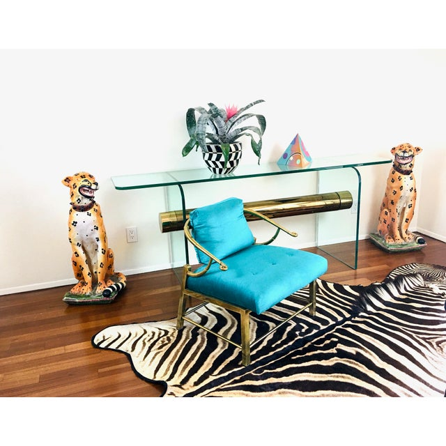 1970s Ultra Modern Glass & Brass Beam Console Sofa Table For Sale - Image 10 of 11