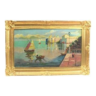 1930s Mediterranean Fine Oil Painting by Giuseppe Novello, Vintage Italian Art For Sale