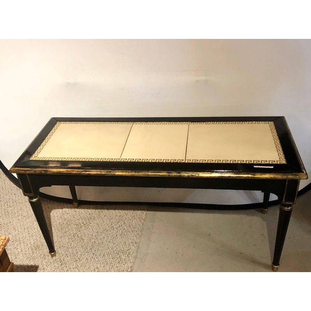 Hollywood Regency Ebonized Jansen Style Coffee Table With a Greek Key Design and Leather Top For Sale - Image 3 of 13
