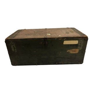 Vintage Wood Military Foot Locker Trunk For Sale