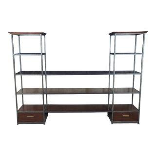 Henredon Acquisitions Courbin Mahogany & Iron Etagere Tv Console Bookcase For Sale